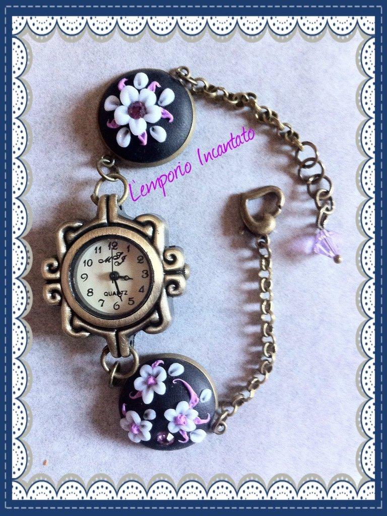 """Orologio/Bracciale """"Bouquet fiorito"""" realizzato interamente a mano"""