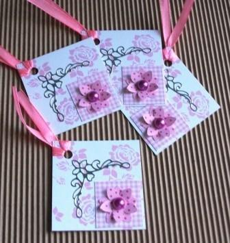 lotto Tag - Etichette Chiudipacco - *Fiori Rosa* (3pz)
