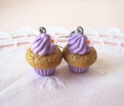 *IN OFFERTA* Orecchini cupcakes in fimo lilla o azzurri
