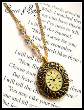 "ALICE IN WONDERLAND VINTAGE STYLE COLLECTION -""I'm LATE!!""CLOCK CAMEO NECKLACE"