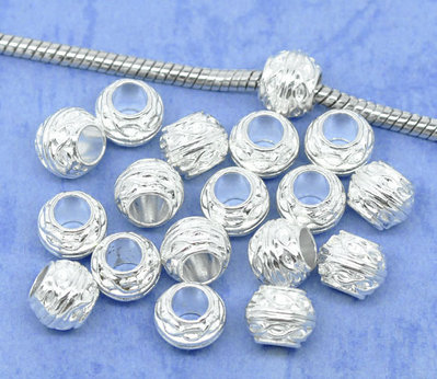6x perle a foro largo silver plated