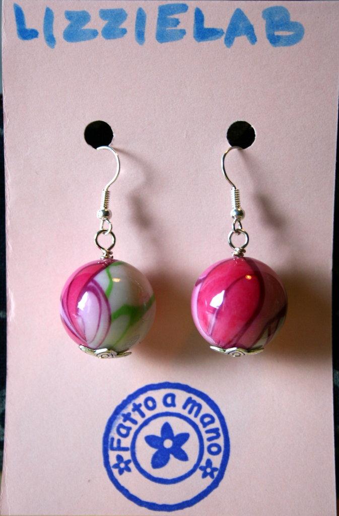 Orecchini perle rosaverdi