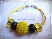 Bracciale in pelle gialla tubolare con perle Trollbeads  - Giallo