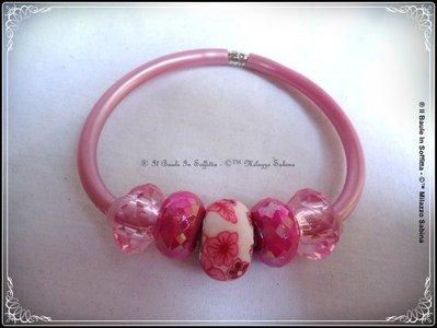 Bracciale in caucciù e perle Trollbeads  - Colore Malva Satinato