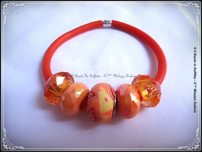 Bracciale in caucciù e perle Trollbeads - Colore Arancione