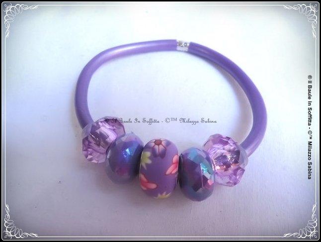 Bracciale in caucciù e perle Trollbeads  - Colore Viola satinato