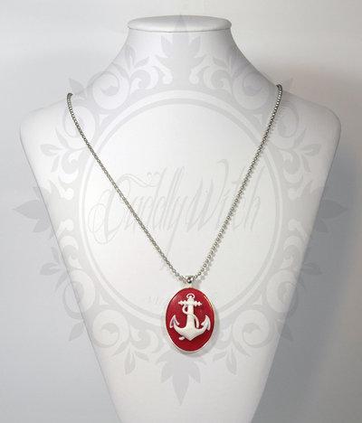 collana. cammeo rosso e bianco 30x40 con ancora- pin up rockabilly kawaii lolita retrò