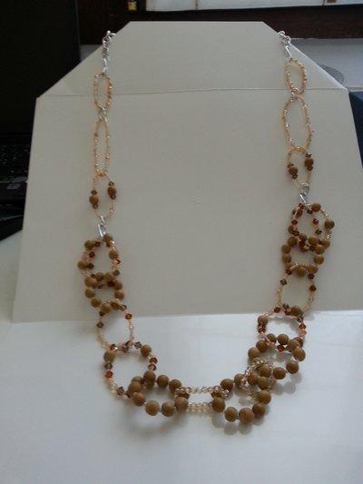 Collana lunga legno e cristalli