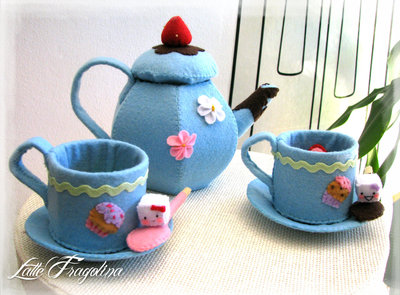 Dolce set da tè con tè rimovibile -set da tè in feltro senza dolci