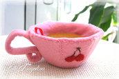 """Tazzina ciliegia,tazzina da tè giocattolo in feltro con tè rimovibile """" Omaggio 1 fondo di tè!! """" - Cibo alimenti in feltro per bambini"""