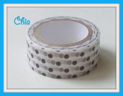 1 washi tape pois bianco e nero 5 metri