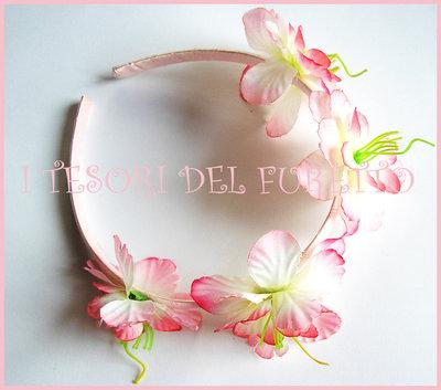 """Cerchietto """"fiori rosa"""" bimba raso cerimonia comunione cresima idea regalo"""