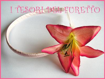 """Cerchietto """"Giglio rosa/creama"""" bimba bambina comunione cresima cerimonia elegante"""