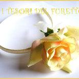 """Cerchietto """"Rosa avorio"""" bambina bimba comunione cresima cerimonia raso elegante"""