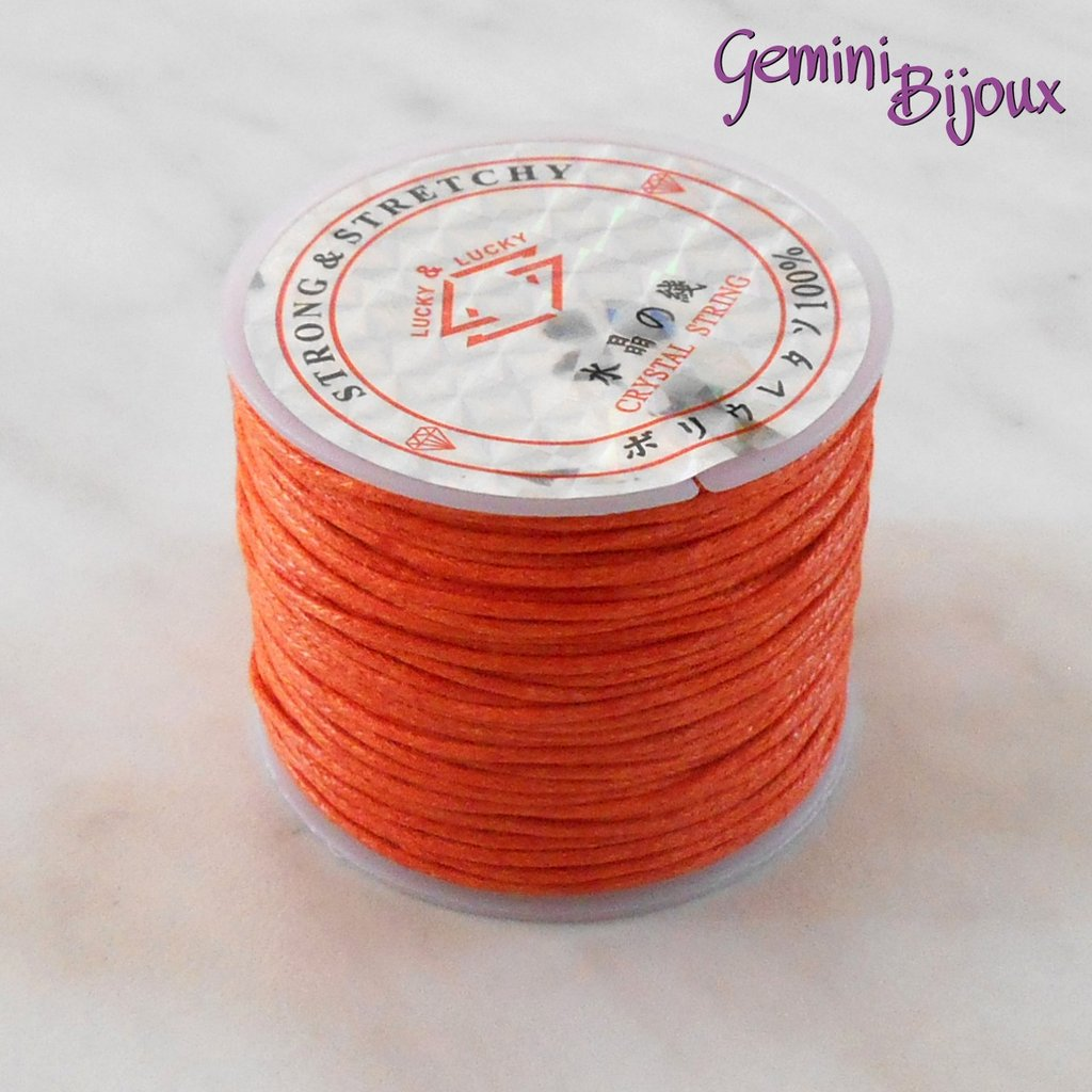 Lotto 1 mt cordino cotone cerato arancio 1 mm