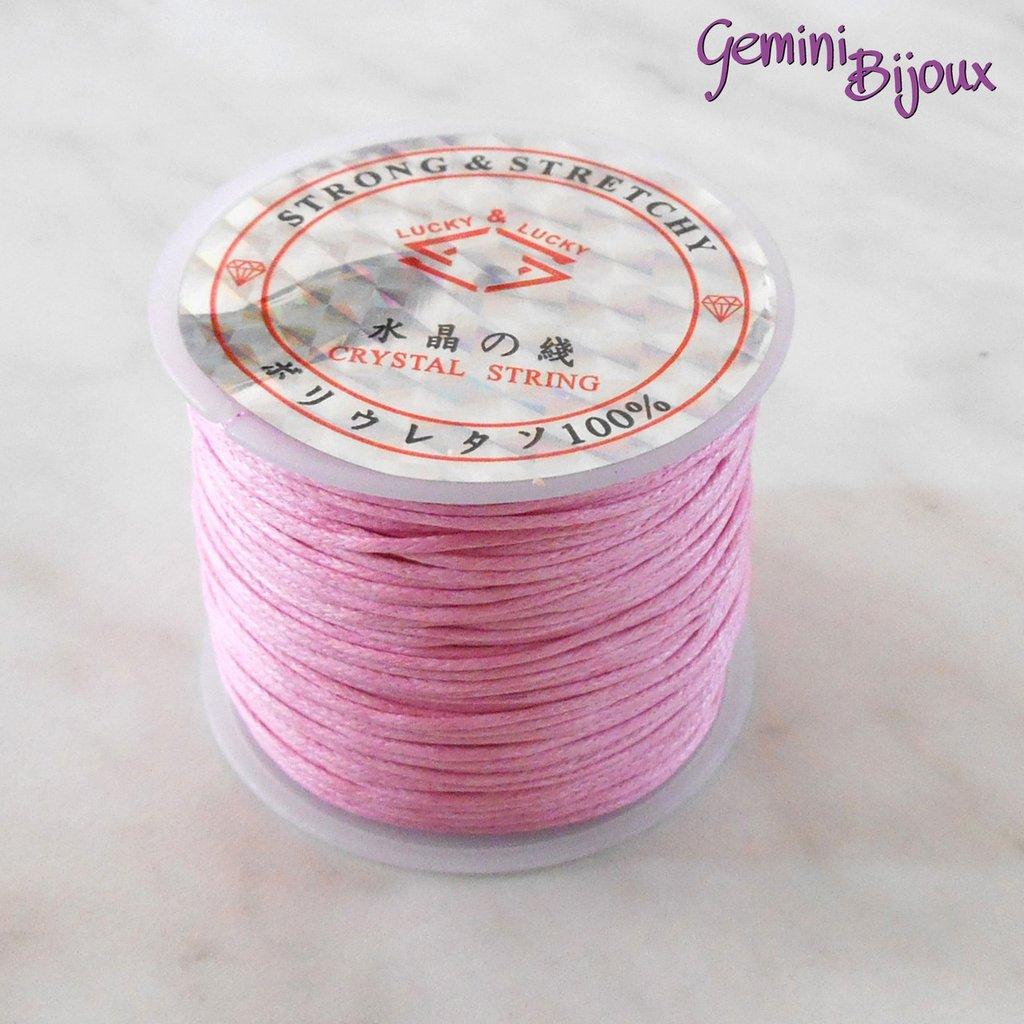 Lotto 1 mt cordino cotone cerato rosa 1 mm