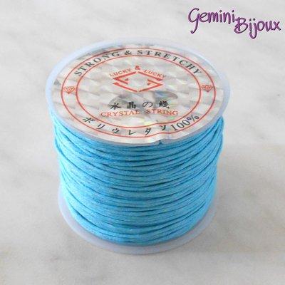 Lotto 1 mt cordino cotone cerato azzurro 1 mm