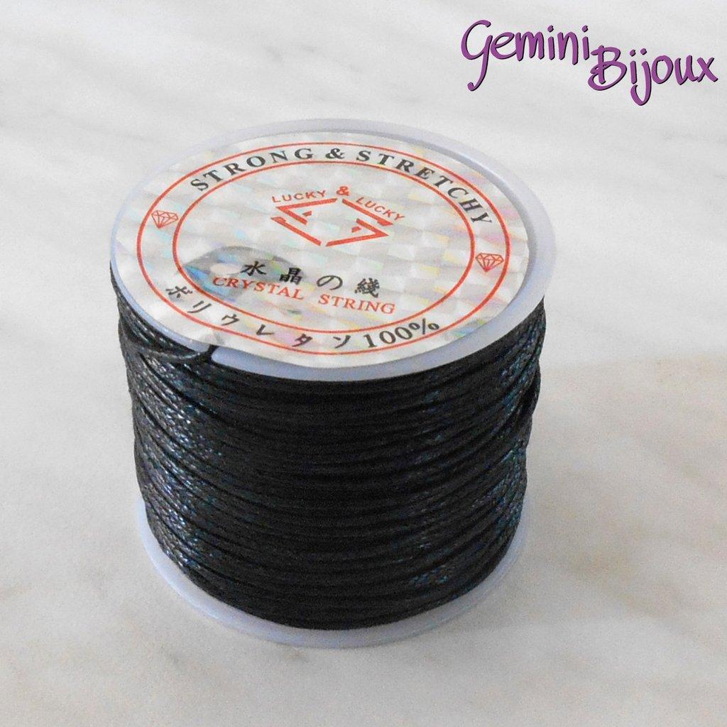 Lotto 1 mt cordino cotone cerato nero 1 mm