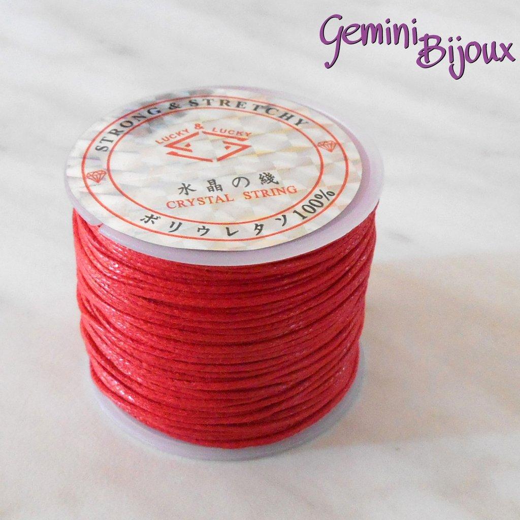 Lotto 1 mt cordino cotone cerato rosso 1 mm