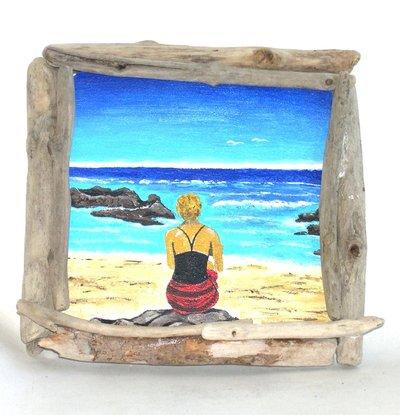"""Quadretto """"Attesa"""" acrilico su legno e legni di mare"""