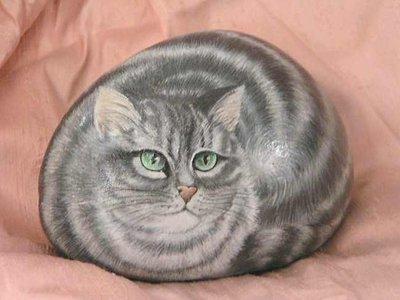 Gatto ritratto su sasso