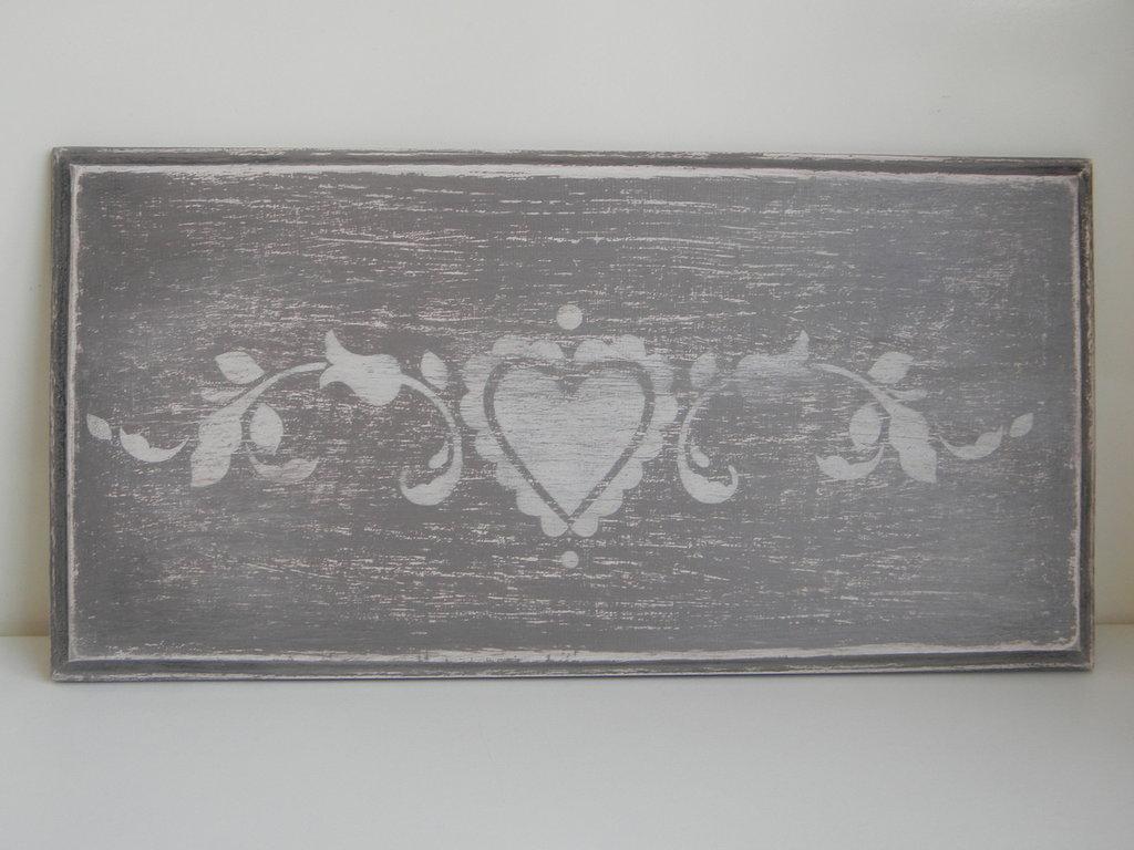 Quadretto in legno con decoro shabby