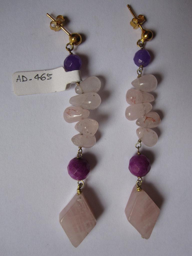 orecchini in argento dorato e pietre dure