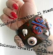 Bracciale Emo Goth Dark cuore, polmoni, denti, cervello, reni, bulbi oculari idea regalo pastel goth sangue anatomia horror