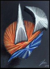 Quadro fatto a mano con fili di seta - Tramonto in barca a vela