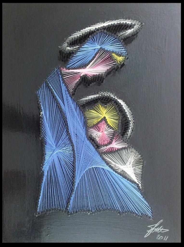 Quadro fatto a mano con fili di seta - Madonna con Bambino
