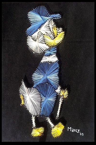 Quadro fatto a mano con fili di seta - Zio Paperone