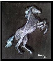 Quadro fatto a mano con fili di seta - Cavallino rampante
