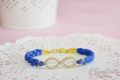 Bracciale Infinito con strass incastonati -blu