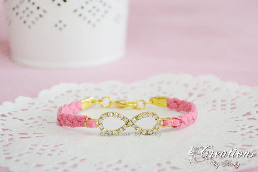Bracciale Infinito con strass incastonati -rosafragola