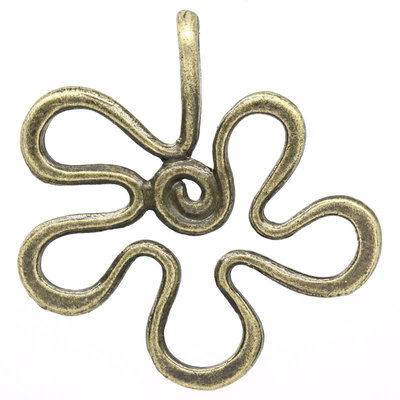 2x Charm ciondolo pendente color bronzo a forma di fiore 4,2x4,1 cm.