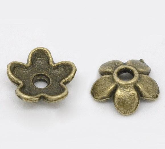 50 x coppette copriperla color bronzo diam. 6,5 mm.