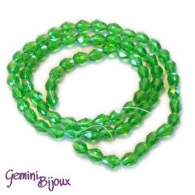 Lotto 10 perle in vetro gocce sfaccettate 9x5 verde prato