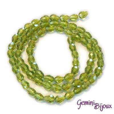 Lotto 10 perle in vetro gocce sfaccettate 9x5 verde peridot