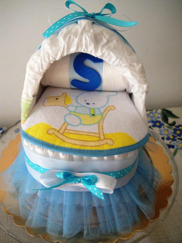 Estremamente Culla di pannolini con tulle per bimbo - Idea regalo nascita - Bam  CV99