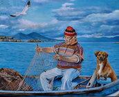 Dipinto pescatore marina cane vesuvio  napoli