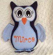 Civetta personalizzata - peluche pupazzo gufo blu