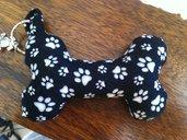 Portachiavi Osso/Cuore in stoffa imbottito, fatto a mano