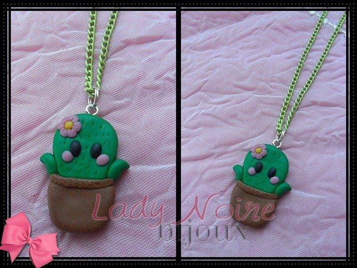 Collana con cactus kawaii in fimo realizzato a mano