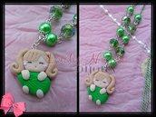 Collana con doll verde in fimo realizzata a mano