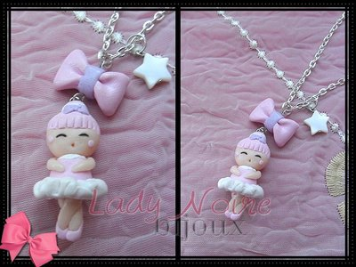 Collana con ballerina e fiocchetto rosa e lilla in fimo realizzati a mano
