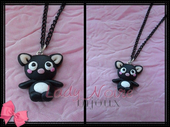 Collana con gattino kawaii in fimo realizzato a mano