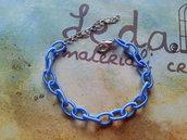 Base bracciale catena di seta azzurro