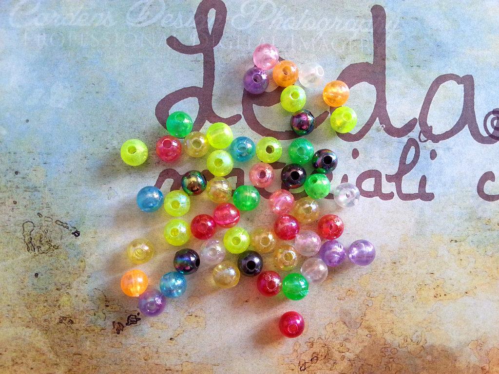 Lotto 50 perle multicolore 6mm