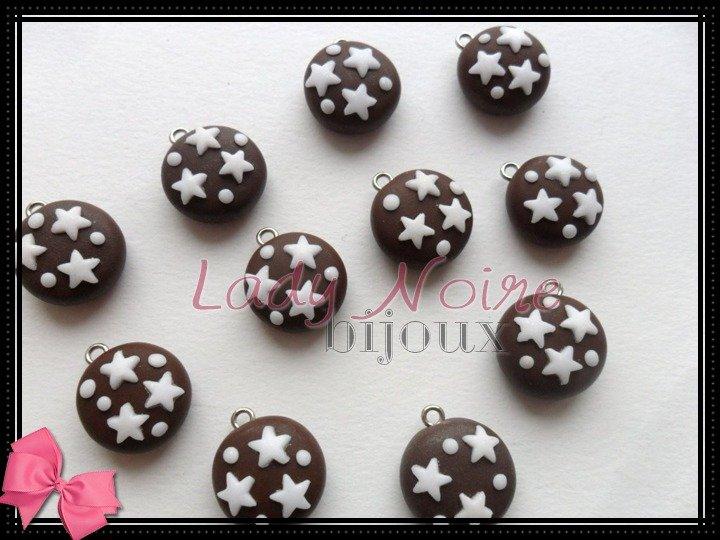 """Lotto 30 ciondoli """"pan di stelle"""" in fimo realizzati a mano"""
