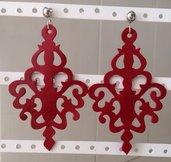 Orecchini chandelier in pelle colore rosso